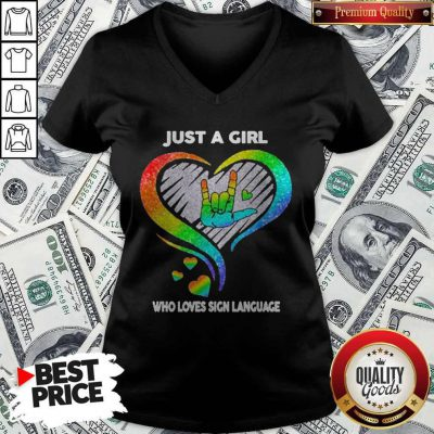 Top LGBT Just A Girl Who Love Sign Language Diamond V-neck