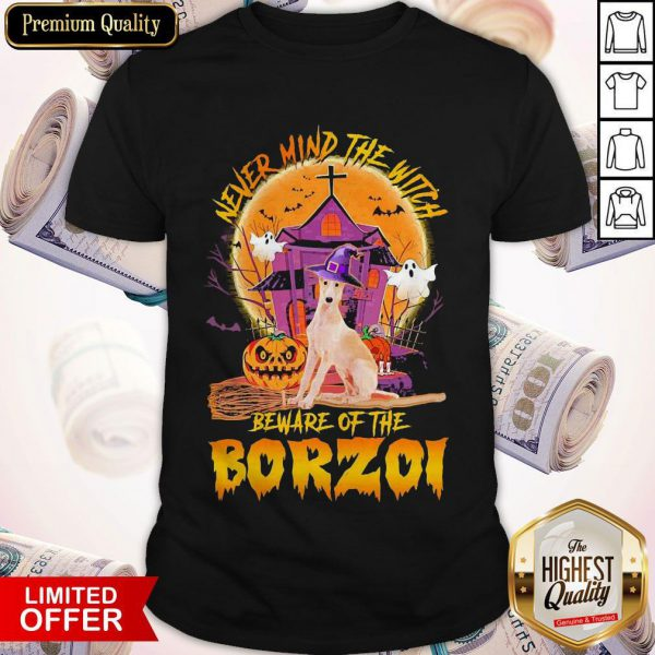 Top Never Mind The Witch Beware Of The Borzoi Halloween Moon Shirt