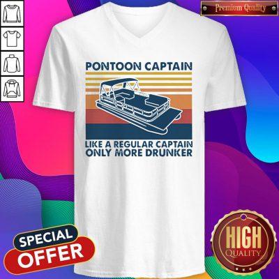 Vintage Pontoon Captain Like A Regular Captain Only More Drunker V-neck