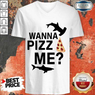 Funny Shark You Wanna Pizza Me V-neck