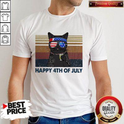 Premium Black Cat Happy 4th Of July Vintage Shirt