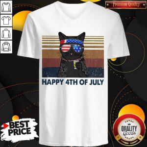 Premium Black Cat Happy 4th Of July Vintage V-neck