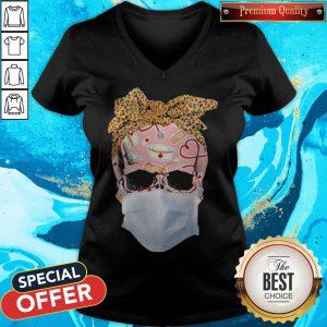 Skull Face Mask Nurse Skull With Mask Patriotic Skull First Responder Nurse Life V-neck
