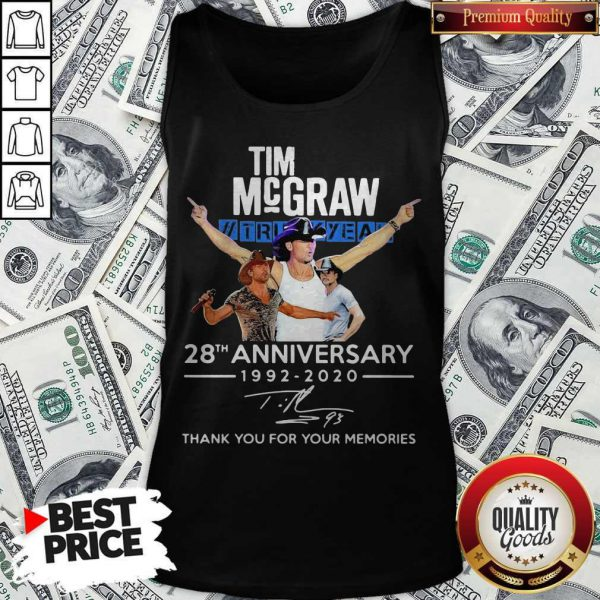 Tim Mcgraw Truck Yeah 28th Anniversary 1992 2020 Thank You For The Memories Signature Tank Top