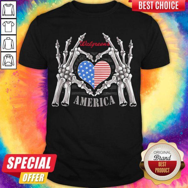 Walgreens Logo America USA Forever Skeleton Skull Bones Hand Shirt