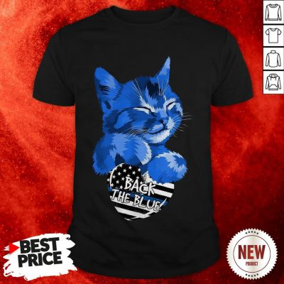 Cat Hug Heart Back The Blue American Flag Shirt