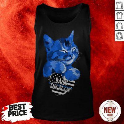 Cat Hug Heart Back The Blue American Flag Tank Top