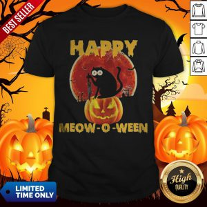 Halloween Black Cat Hold Knife Happy Meow O Ween Shirt