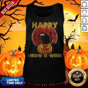Halloween Black Cat Hold Knife Happy Meow O Ween Tank Top