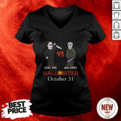 Michael Myer Vs Jacson Voorhees Halloween October 31st V Neck