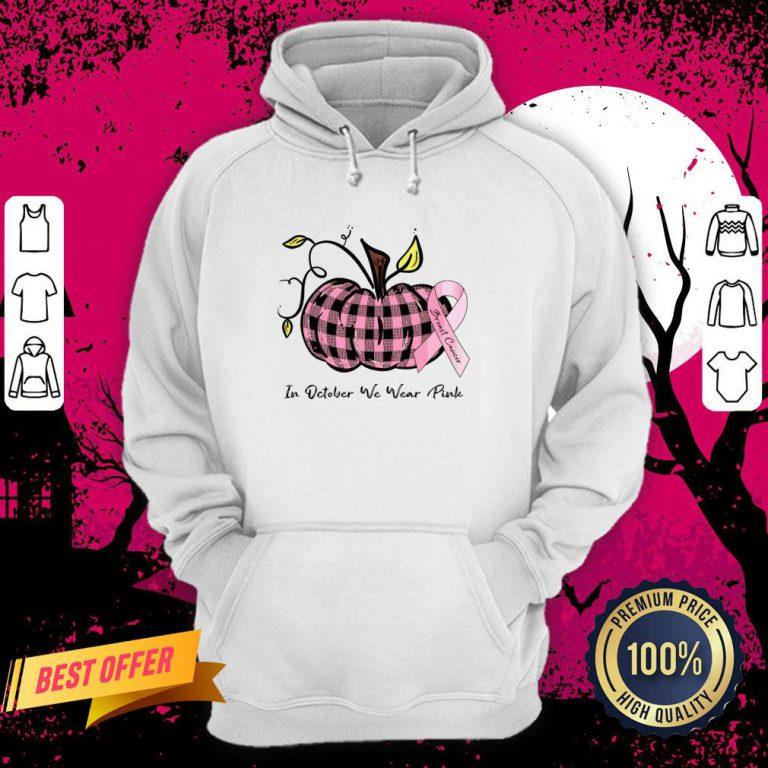 Pumpkin In October We Wear Pink Breast Cancer Hoodie