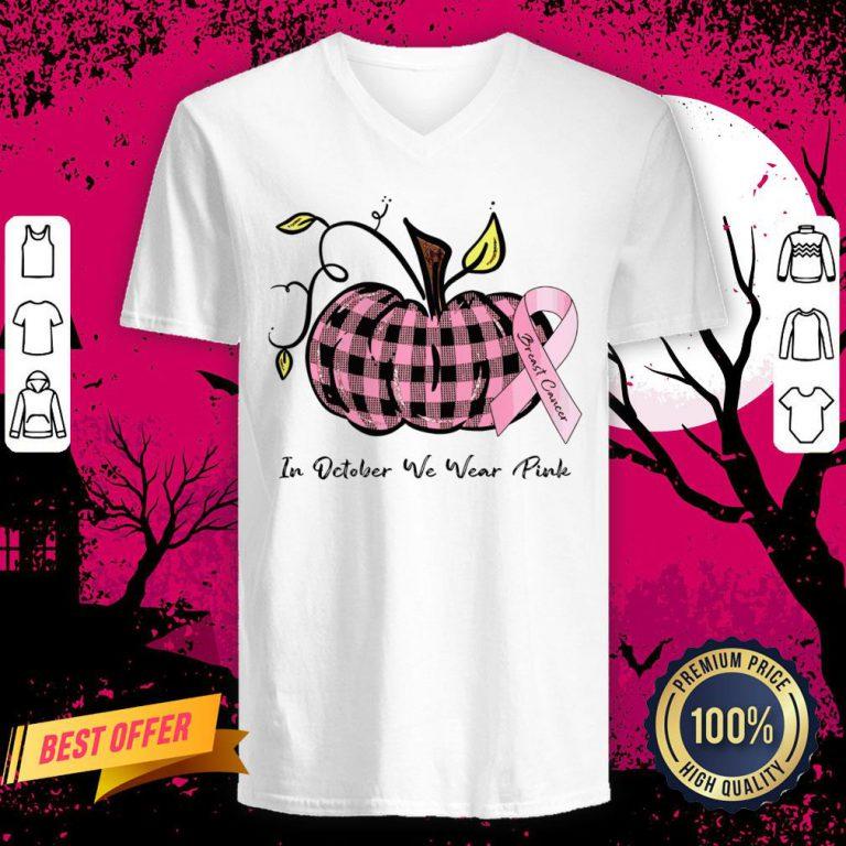 Pumpkin In October We Wear Pink Breast Cancer V Neck
