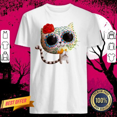 White Cat Of The Dead Dia De Muertos Sugar Skull Shirt