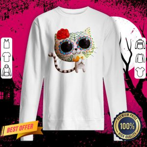 White Cat Of The Dead Dia De Muertos Sugar Skull Sweatshirt