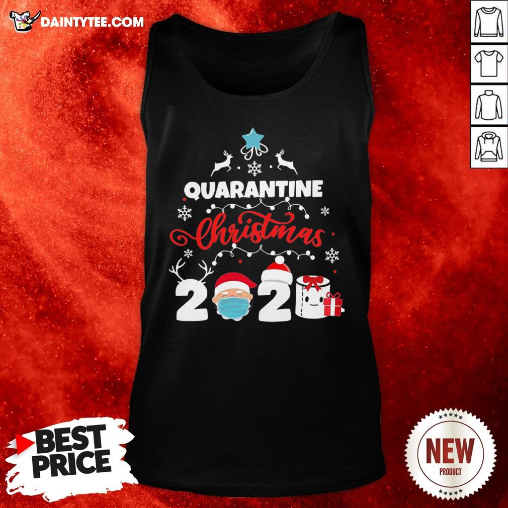 Awesome Xmas Quarantine Christmas 2020 Social Distancing Christmas Tank Top- Design By Daintytee.com