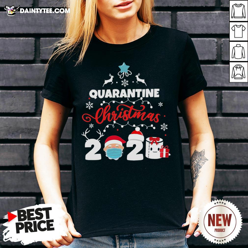 Awesome Xmas Quarantine Christmas 2020 Social Distancing Christmas V Neck- Design By Daintytee.com