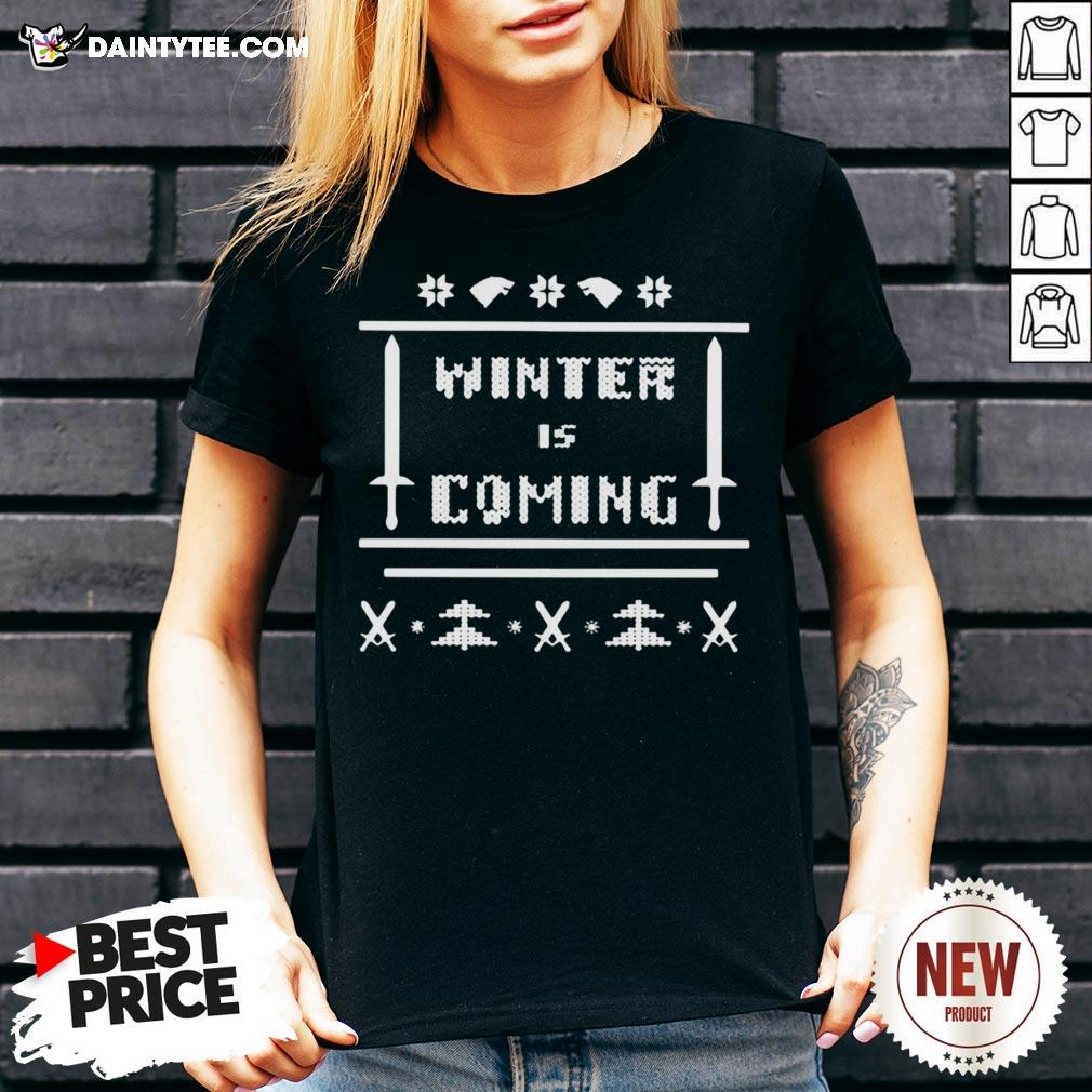 Funny Game Of Thrones Winter Is Coming Ugly Christmas V Neck- Design By Daintytee.com