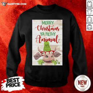 Hot Merry Christmas Ya Filthy Animal Cow Sweatshirt- Design By Daintytee.com