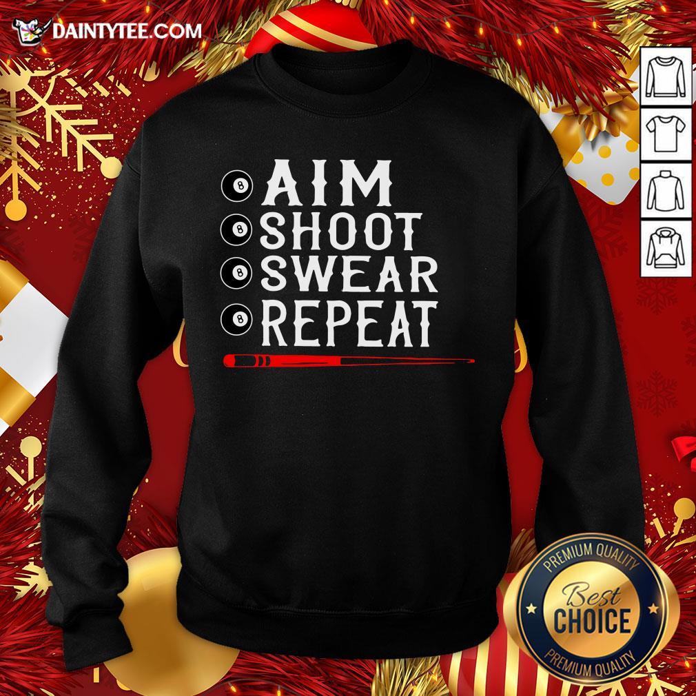 Awesome Aim Shoot Swear Repeat Billiards Christmas Sweatshirt- Design By Daintytee.com