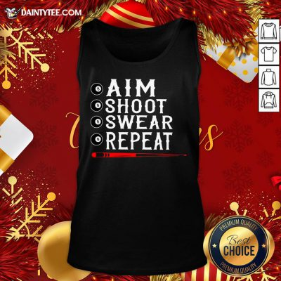 Awesome Aim Shoot Swear Repeat Billiards Christmas Tank Top- Design By Daintytee.com