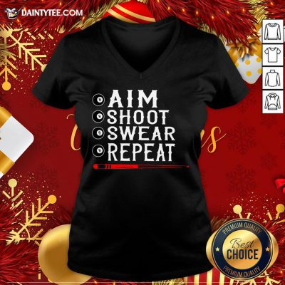 Awesome Aim Shoot Swear Repeat Billiards Christmas V Neck- Design By Daintytee.com