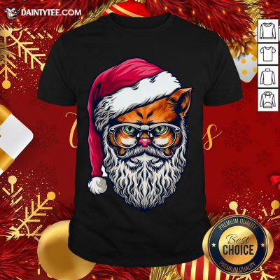 Awesome Xmas Wild Cat Santa Claus Christmas Wearing Glasses T-Shirt- Design By Daintytee.com