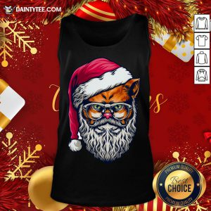 Awesome Xmas Wild Cat Santa Claus Christmas Wearing Glasses Tank Top- Design By Daintytee.com