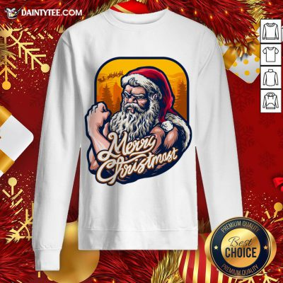 Good Xmas Strong Cool Santa Claus Merry Christmas With Background Tree Sweatshirt- Design By Daintytee.com