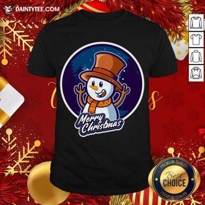 Nice Xmas Smiley Snowman Merry Christmas T-Shirt- Design By Daintytee.com