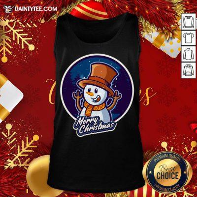 Nice Xmas Smiley Snowman Merry Christmas Tank Top- Design By Daintytee.com
