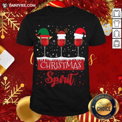 Official Red Wine Glasses Christmas Spirit Santa Elf Reindeer T-Shirt- Design By Daintytee.com