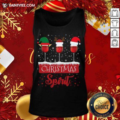 Official Red Wine Glasses Christmas Spirit Santa Elf Reindeer Tank Top- Design By Daintytee.com