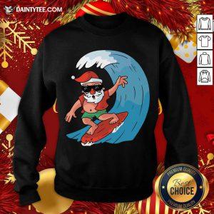 Santa Surfing Christmas Sweatshirt- Design By Daintytee.com