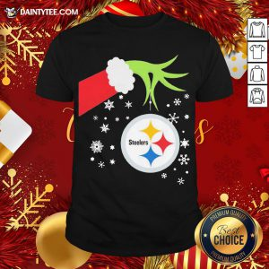 Official The Grinch Hand Holding Ornament Pittsburgh Steelers Christmas Shirt- Design By Daintytee.com
