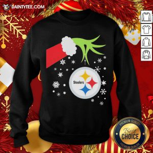 Official The Grinch Hand Holding Ornament Pittsburgh Steelers Christmas Sweatshirt- Design By Daintytee.com