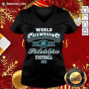 Official World Champion Philadelphia Football DT Adult V Neck- Design By Daintytee.com