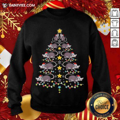 Christmas Opossums Tree Christmas Tree Lights Sweatshirt- Design By Daintytee.com