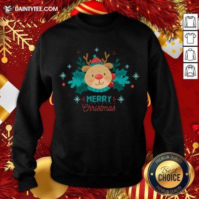 Original Merry Christmas Reindeer Festive Xmas Sweatshirt- Design By Daintytee.com