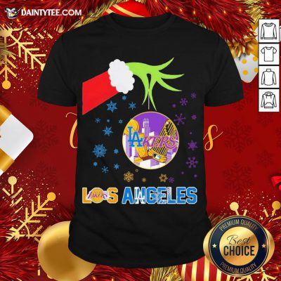 Original The Grinch Hand Holding Ornament Los Angeles Lakers And Los Angeles Dodgers Christmas Shirt- Design By Daintytee.com