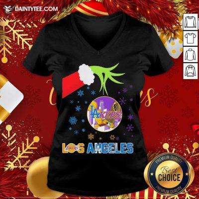Original The Grinch Hand Holding Ornament Los Angeles Lakers And Los Angeles Dodgers Christmas V Neck- Design By Daintytee.com
