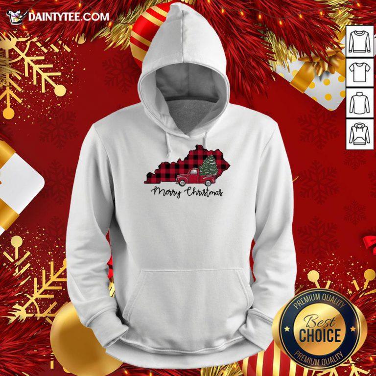 Premium Kentucky Merry Christmas Tree Hoodie - Design By Daintytee.com
