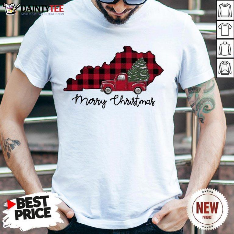 Premium Kentucky Merry Christmas Tree Shirt- Design By Daintytee.com