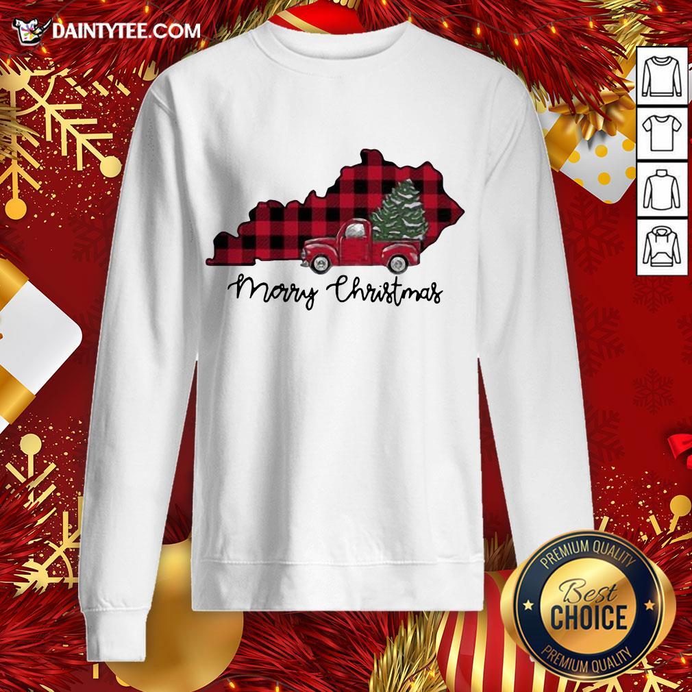 Premium Kentucky Merry Christmas Tree Sweatshirt- Design By Daintytee.com