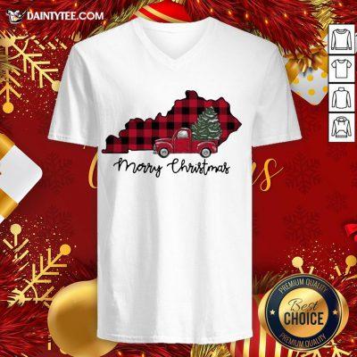 Premium Kentucky Merry Christmas Tree V Neck- Design By Daintytee.com