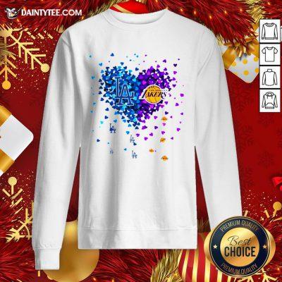 Premium Los Angeles Dodgers And Los Angeles Lakers Heart Sweatshirt- Design By Daintytee.com