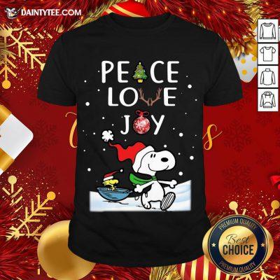 Pretty Peanuts Snoopy Peace Love Joy Christmas Shirt- Design By Daintytee.com