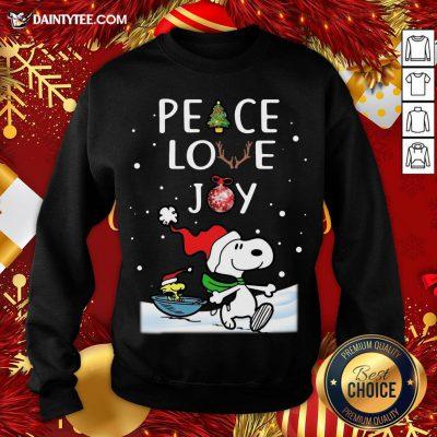 Pretty Peanuts Snoopy Peace Love Joy Christmas Sweatshirt- Design By Daintytee.com