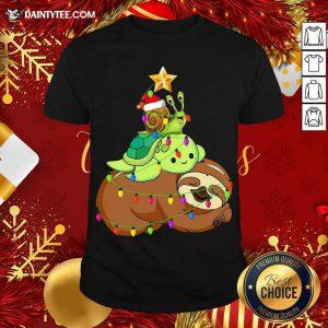 Santa Snail Turtle Sloth Merry Christmas Tree Shirt- Design By Daintytee.com
