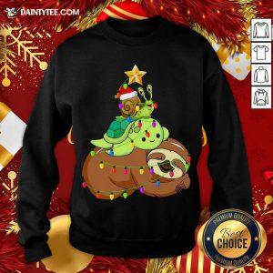 Santa Snail Turtle Sloth Merry Christmas Tree Sweatshirt- Design By Daintytee.com