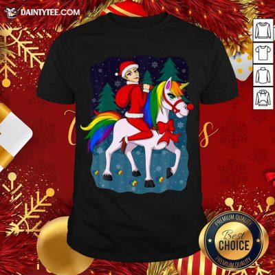 Pretty Women Santa Claus Riding A Unicorn Ugly Christmas Shirt- Design By Daintytee.com